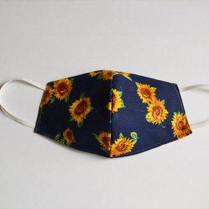 Fabric Face Mask Handmade Sunflower Navy Blue